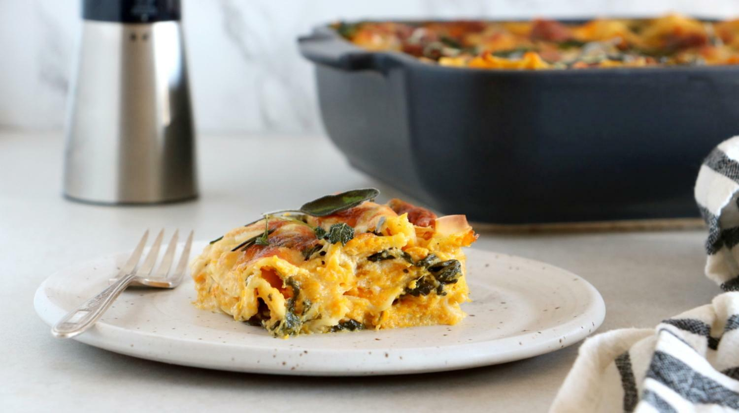 Butternut Squash, Spinach and Goat Cheese Lasagna - Peugeot Saveurs