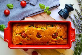 Cherry tomato, eggplant and feta cheese bread