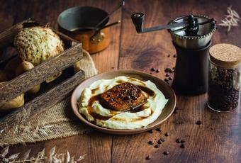 Coffee Lacquered Tofu and Celery Root Purée