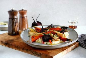 Maple Roasted Root Vegetables with Parsnip Puree